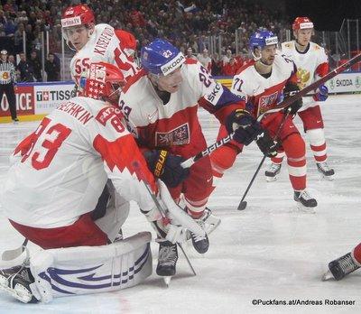 IIHF World Championship CZE - RUS Vasili Koshechkin #83, Dmitrij Jaskin #23 Royal Arena, Copenhagen ©Puckfans.at/Andreas Robanser