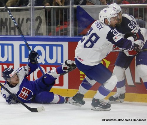 IIHF World Championship  SVK - FRA Michal Kristof  #19, Damien Raux  #28 Royal Arena, Copenhagen ©Puckfans.at/Andreas Robanser