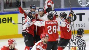 IIHF World Championship AUT - BLR Fabio Hofer #23, Michael Raffl #12, Martin Schumnig #28, Clemens Unterweger #92, Kristian Khenkel #18 Royal Arena, Copenhagen ©Puckfans.at/Andreas Robanser
