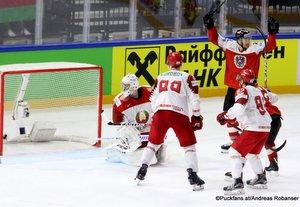 IIHF World Championship  AUT - BLR Mikhail Karnaukhov  #1, Yevgeni Kovyrshin #88. Michael Raffl #12 Royal Arena, Copenhagen ©Puckfans.at/Andreas Robanser
