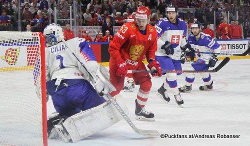 IIHF World Championship  RUS - SVK Marek Ciliak #1, Yevgeni Dadonov #63, Adam Janosik #3 Royal Arena, Copenhagen ©Puckfans.at/Andreas Robanser