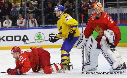 IIHF World Championship RUS - SWE Nikita Nesterov #89, Viktor Arvidsson #33, Vasili Koshechkin #83 Royal Arena, Copenhagen ©Puckfans.at/Andreas Robanser
