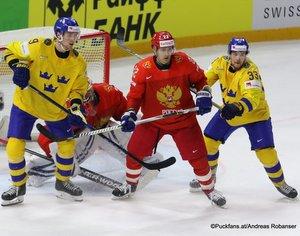 IIHF World Championship RUS - SWE Adrian Kempe #9, Vasili Koshechkin, Nikita Zaitsev #22, Viktor Arvidsson #33 Royal Arena, Copenhagen ©Puckfans.at/Andreas Robanser