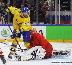 IIHF World Championship RUS - SWE Mattias Ekholm #4, Vasili Koshechkin #83 Royal Arena, Copenhagen ©Puckfans.at/Andreas Robanser