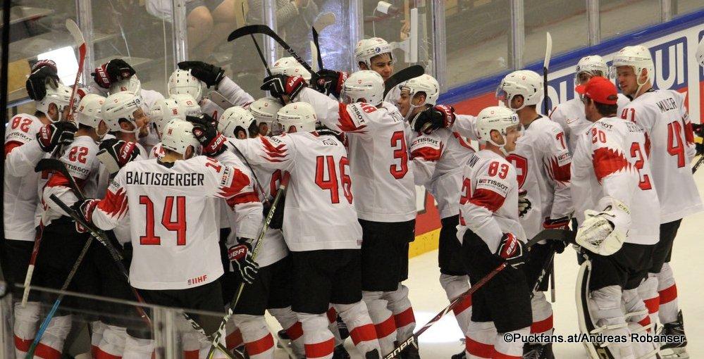 IIHF World Championship  QF: FIN - SUI Schweizer Jubel  Jyske Bank Boxen, Herning ©Puckfans.at/Andreas Robanser