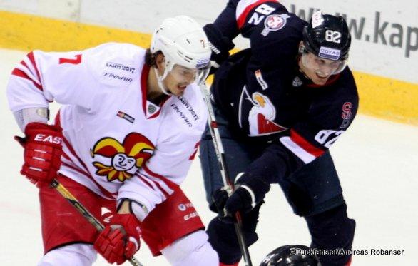 Slovan Bratislava - Jokerit Helsinki Oliver Lauridsen #7, Ziga Jeglic #14, Tomas Kopecky #82, Mika Niemi #22 Slovnaft Arena ©Puckfans.at/Andreas Robanser