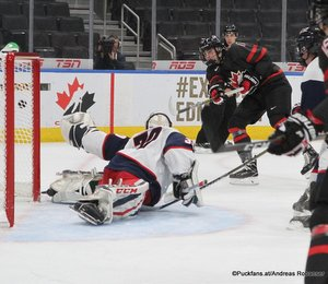 Hlinka Gretzky Cup 2018, Semifinal USA - CAN Dustin Wolf #30, Kirby Dach #17 Rogers Place, Edmonton ©Puckfans.at/Andreas Robanser