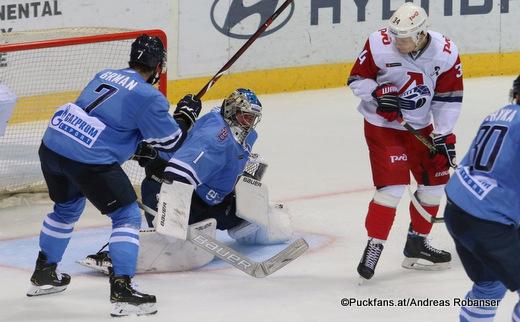 HC Slovan Bratislava - Lokomotiv Yaroslavl Mario Grman #7, Marek Ciliak #1, Artyom Ilyenko #34 ©Puckfans.at/Andreas Robanser