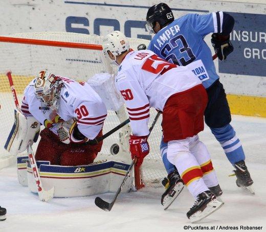 HC Slovan Bratislava - Jokerit Helsinki Ryan Zapolski #30, Viktor Lööv #50, Patrik Lamper #63 ©Puckfans.at/Andreas Robanser