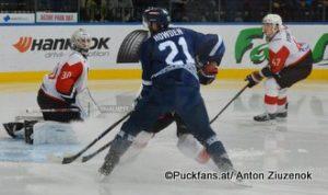 Dinamo Minsk - Avangard Omsk Igor Bobkov #30, Quinton Howden #21, Alexei Yemelin #47 ©Puckfans.at/Anton Ziuzenok