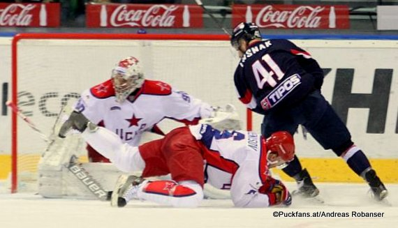 HC Slovan Bratislava - CSKA Moskau Ilya Sorokin #90, Patrik Lusnak #41 ©Puckfans.at/Andreas Robanser