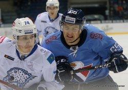 HC Slovan Bratislava - Barys Astana Valeri Orekhov #74, Rudolf Cerveny #65 ©Puckfans.at/Andreas Robanser