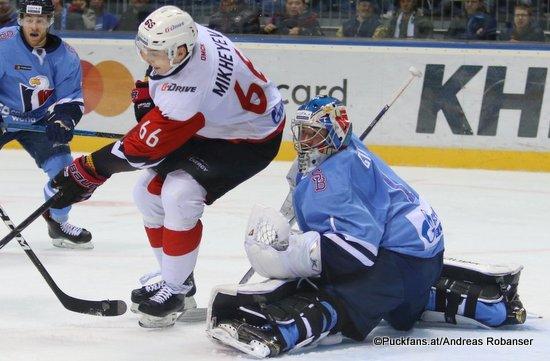 HC Slovan Bratislava - Avangard Omsk Marek Ciliak #1, Ilya Mikheyev #66 ©Puckfans.at/Andreas Robanser