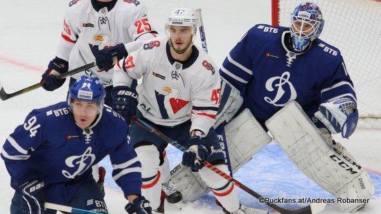 HC Dynamo Moskau - HC Slovan Bratislava Andrei Mironov #94, Casey Bailey #25, Mário Lunter #47, Alexander Yeryomenko  #1 Megasport Arena ©Puckfans.at/Andreas Robanser