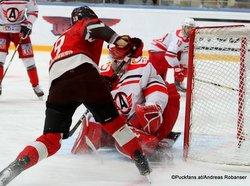 Avangard Omsk - Avtomobilist Ekaterinburg Semyon Koshelev #19, Jakub Kovar #21 Yury Lyapkin Arena Balashikha ©Puckfans.at/Andreas Robanser