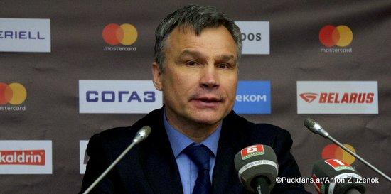 Dinamo Minsk Head Coach Andrei Sidorenko ©Puckfans.at / Anton Ziuzenok
