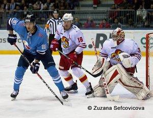 HC Slovan Bratislava -Jokerit Helsinki Tomas Hrnka #80, Sami Lepistö #18 © Zuzana Sefcovicova