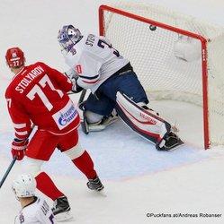 Vityaz Podolsk - HC Slovan Bratislava Jakub Stepanek #30, Gennadi Stolyarov #77 Vityaz Ice Palace, Podolsk ©Puckfans.at/Andreas Robanser