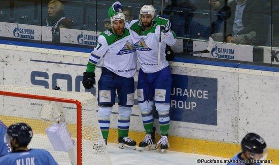 HC Slovan Bratislava - Salavat Yulaev Lukas Klok #31, Linus Omark #67, Pyotr Khokhryakov #62 ©Puckfans.at/Andreas Robanser