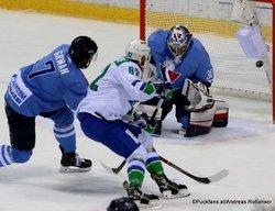 HC Slovan Bratislava - Salavat Yulaev Mario Grman #7, Pyotr Khokhryakov #62, Jakub Stepanek #30 ©Puckfans.at/Andreas Robanser