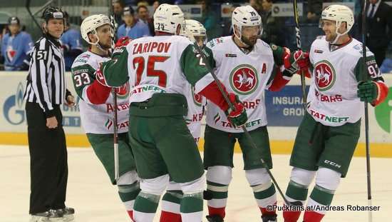 HC Slovan Bratislava - Ak Bars Kazan Albert Yarullin  #33, Danis Zaripov #25, Andrei Markov  #79, Jiri Sekac #92 ©Puckfans.at/Andreas Robanser