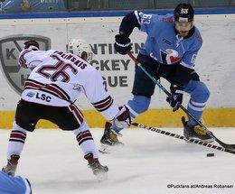 HC Slovan Bratislava - Dinamo Riga Uvis Janis Balinskis #26, Patrik Lamper #63 ©Puckfans.at/Andreas Robanser