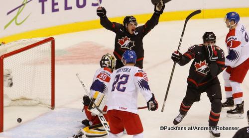 IIHF World Juniors CAN - CZE Jiri Patera #30, Dalimil Mikyska #22, Maxime Comtois #14, Brett Leason #20 Rogers Place, Vancouver ©Puckfans.at/Andreas Robanser