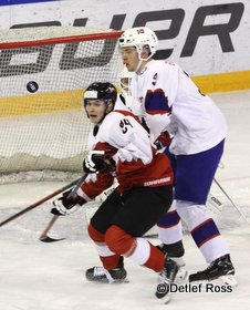 IIHF U20 World Championship Div 1A AUT - NOR Marcel Zitz #24, Emil Lilleberg #9 © Detlef Ross