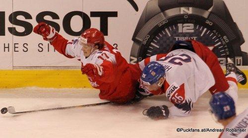 IIHF World Juniors DEN - CZE Lucas Andersen #17, Krystof Hrabik #26 Rogers Place, Vancouver ©Puckfans.at/Andreas Robanser