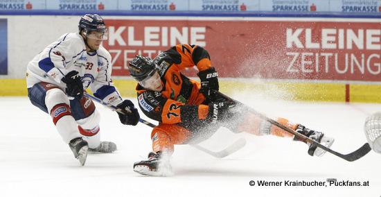 Ivan BRENCUN #33 & Kevin MODERER #72; Moser Medical Graz 99ers vs. KHL Medvescak Zagreb; EBEL; Merkur Arena; Graz; 01.01.2019; ©Werner Krainbucher