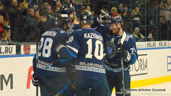 Dinamo Minsk Season 2018-2019 Patrick Wiercioch #28, Kazionov #10, Sergei Kostitsyn #74 ©Puckfans.at/Anton Ziuzenok